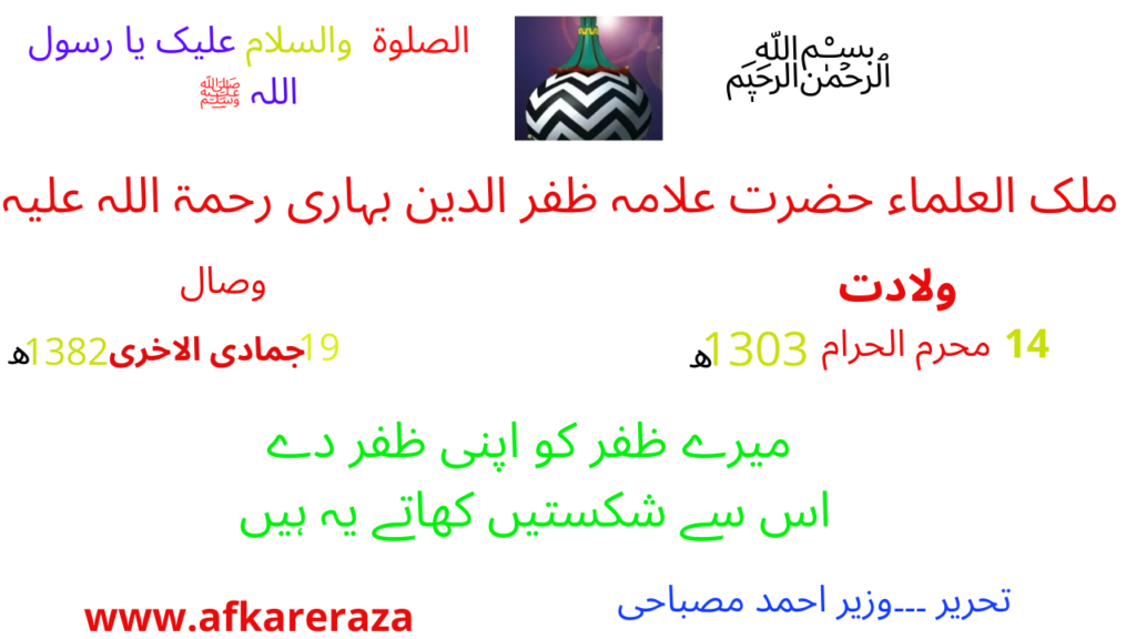 ملک العلماء حضرت علامہ ظفر الدین بہاری